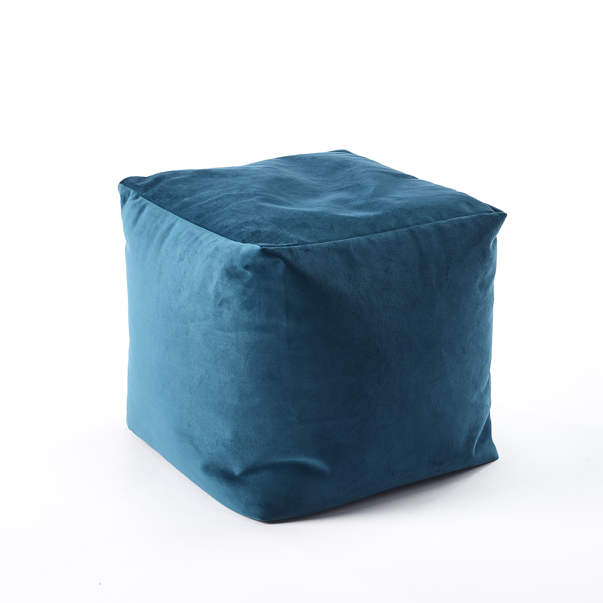 The Home Furnishings Company Teal Velvet Style Luxury Cube Pouffe 45x45x45cms
