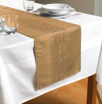 The Home Furnishings Company White Tablecloth and FREE Gold Table Runner!! Special Offer (expires 30 April 2014)