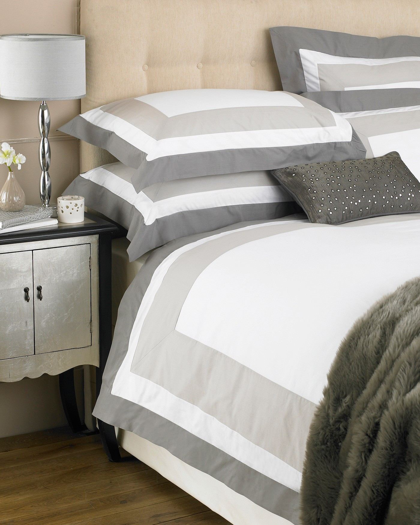 The Home Furnishings Company 100% Cotton Cambridge Natural/Grey/Taupe Single Size Duvet Cover amd Pillow Case