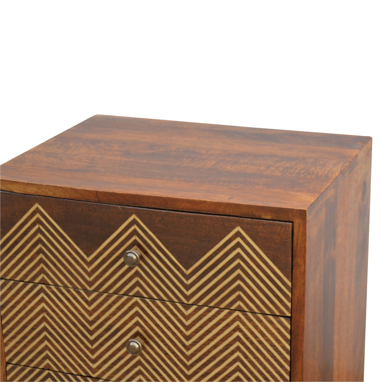 The Home Furnishings Company Brass Inlay Chevron Bedside Chest of Drawers