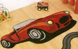 The Home Furnishings Company Children's Boys Red Racing Car Design Rug 100 X 130 cms