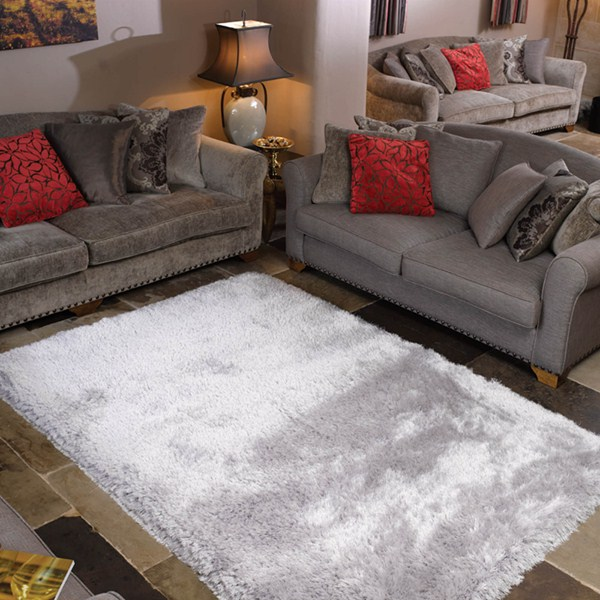 The Home Furnishings Company Silver Super Luxurious Silky Shaggy Rug 120x170cms