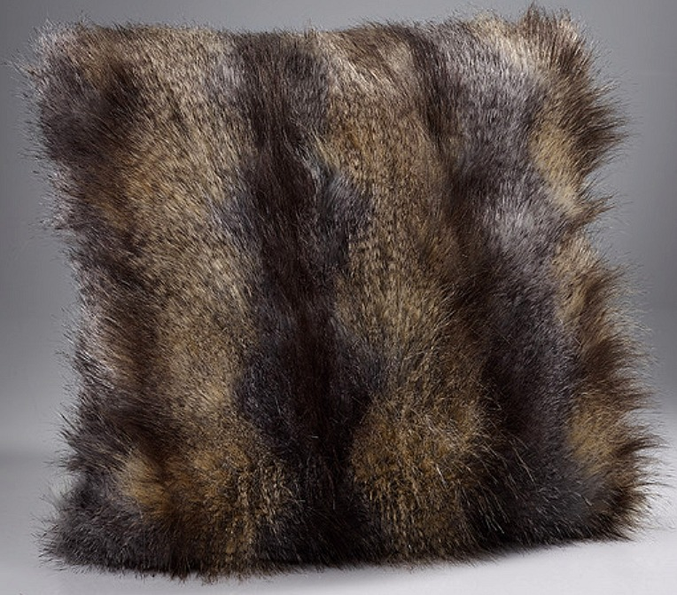 The Home Furnishings Company Brown Wolf Large Luxury  Faux Fur Cushion 58x58cms
