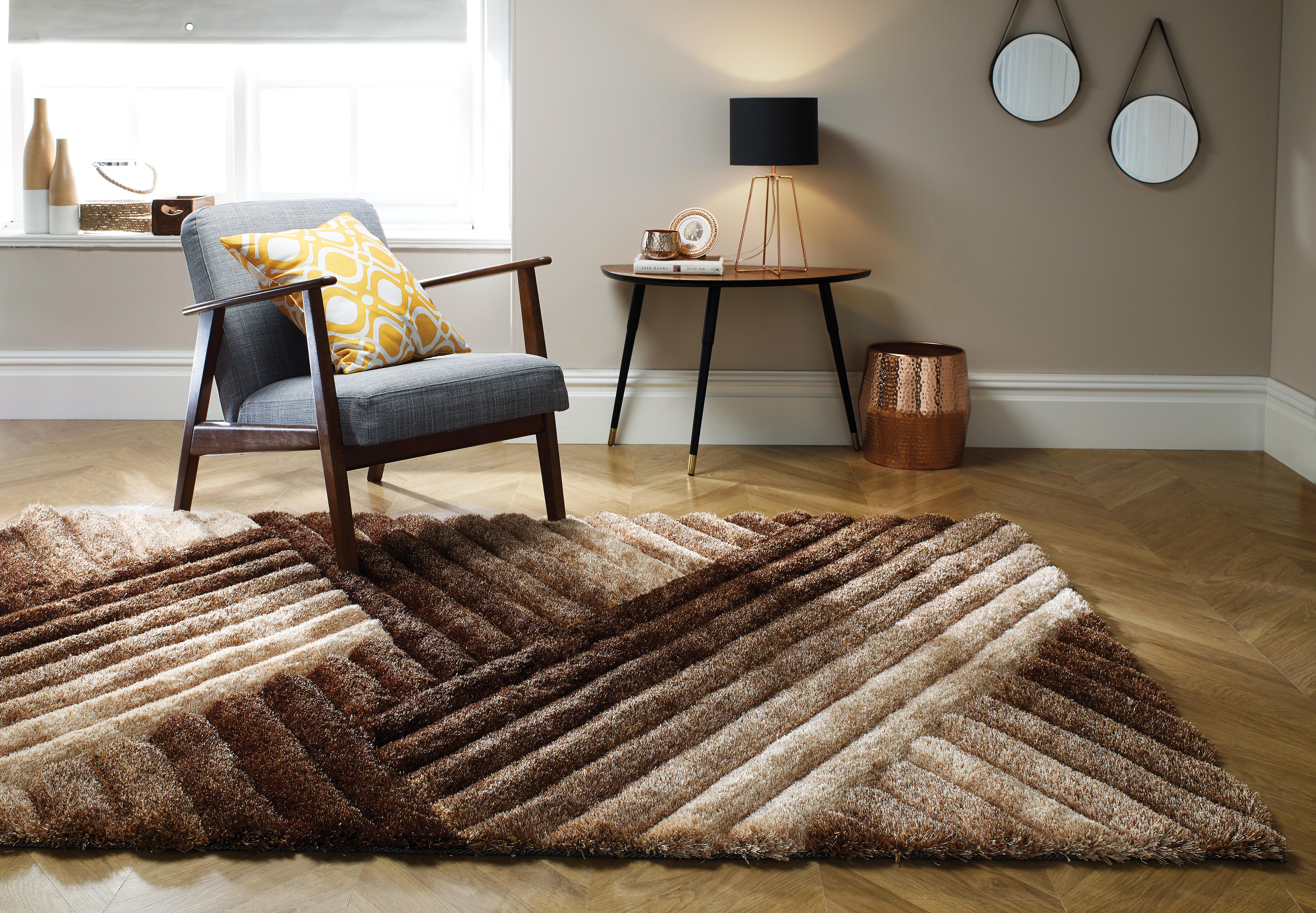 The Home Furnishings Company Verge Lattice Brown/Bronze Rug 80x150cms