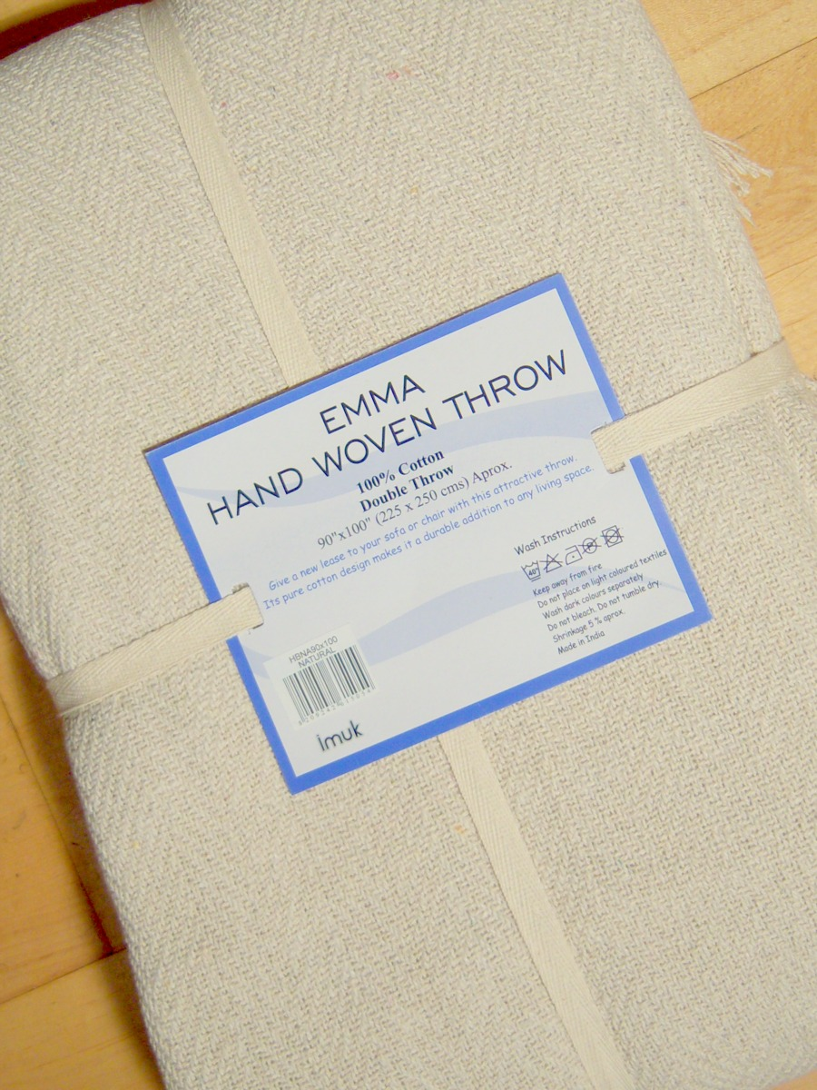 The Home Furnishings Company 100% Cotton Natural/Cream Herringbone Throw 225x250 cms - ONLY £25.00