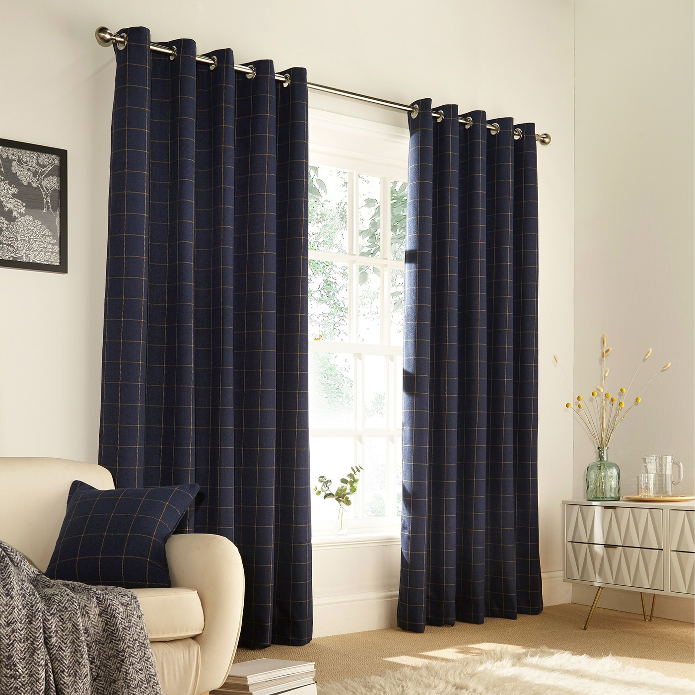 The Home Furnishings Company Ellis Navy Windowpane Curtains and Cushion