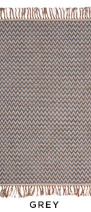 The Home Furnishings Company Bermuda Blue Zigzag Weave Cotton/Jute Handloom Rug