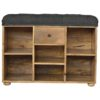 The Home Furnishings Company Black Tweed 6 Slot Shoe Storage Bench