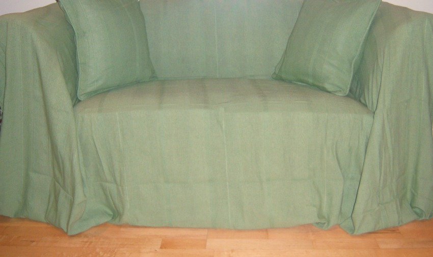 The Home Furnishings Company 100% Cotton Sage Green Giant Throw 225x250 cms - ideal for 2 and 3 seater sofas and armchairs