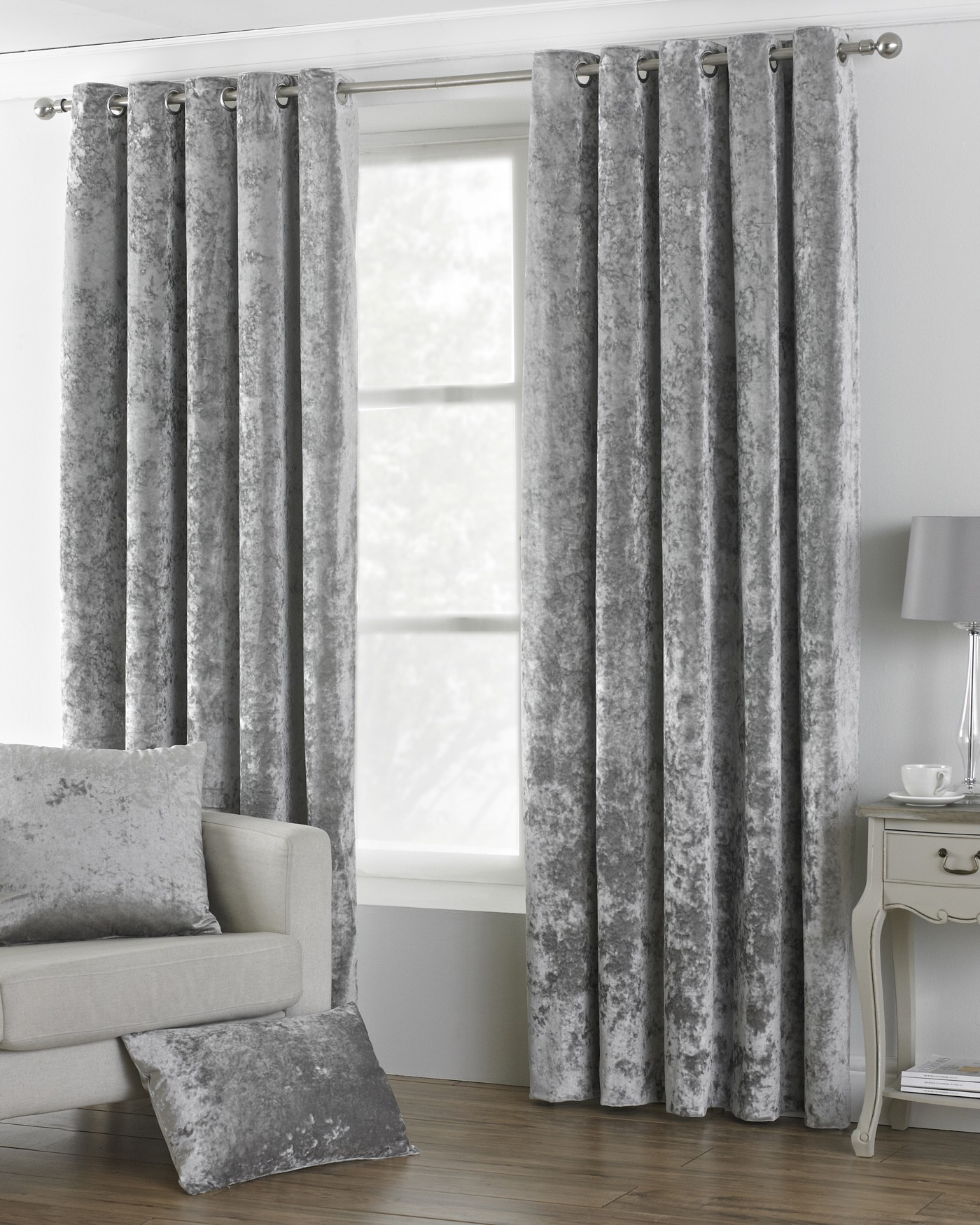 The Home Furnishings Company Verona Silver Velvet Curtains/Furnishings