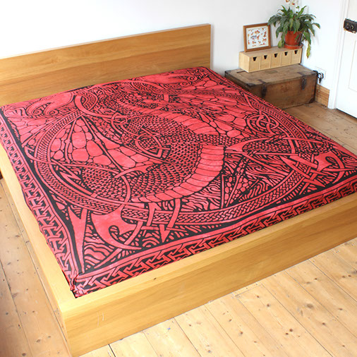 The Home Furnishings Company 100% Cotton Red Fire Dragon Throw 210x240cms for Sofas or Beds
