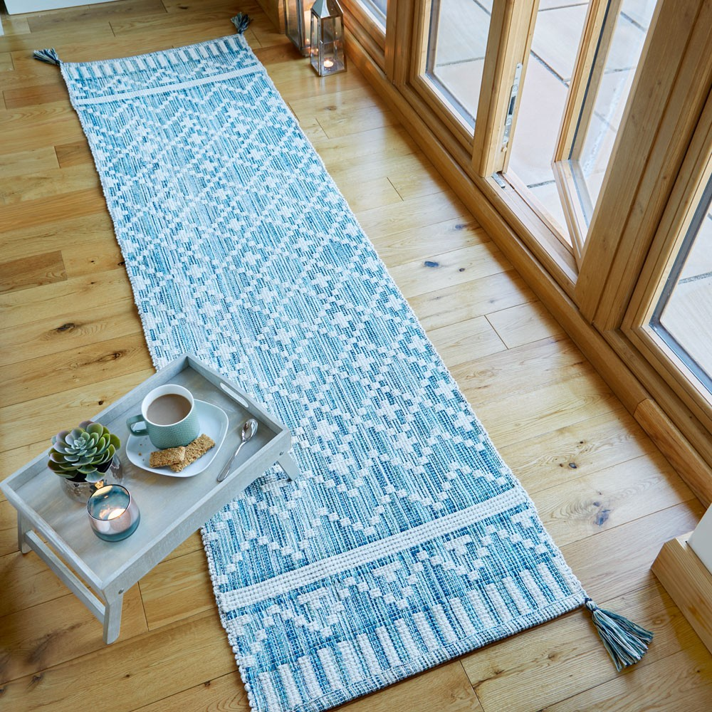The Home Furnishings Company Blue/Ivory Reversible Scandinavian Style Runner 60x200cms