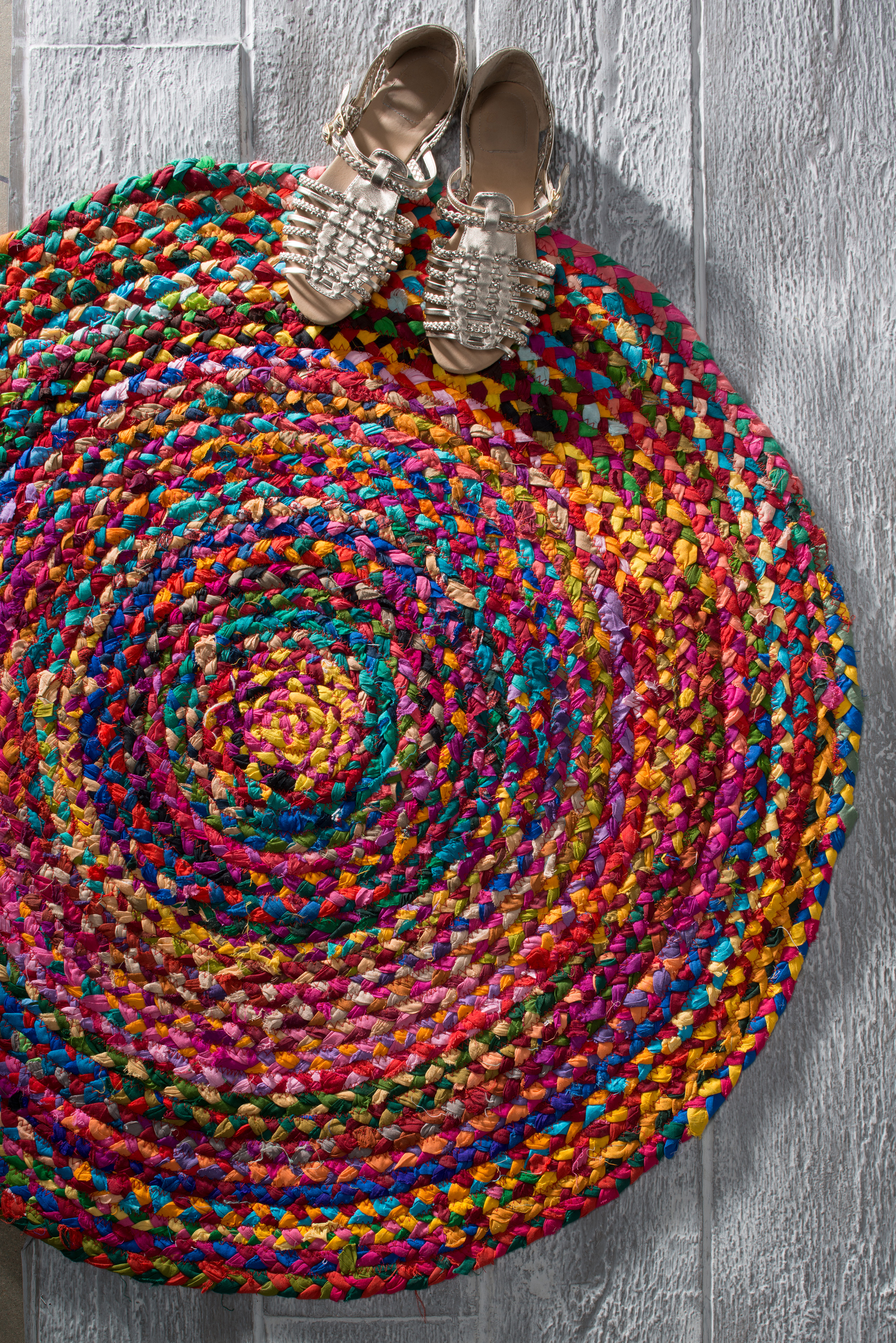 The Home Furnishings Company Circular Multi Colour Recycled Cotton Chindi Rug