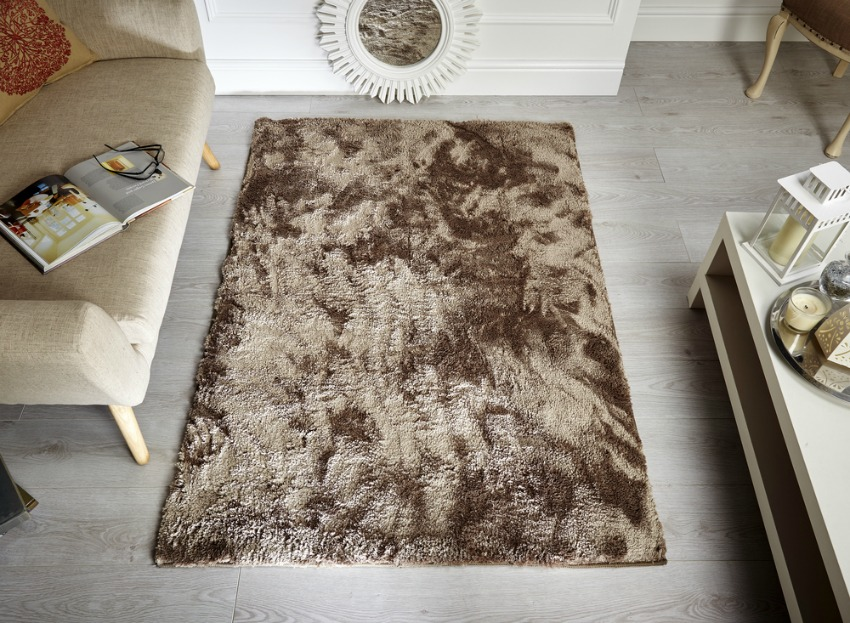 The Home Furnishings Company Wisp Super Soft Shag Pile Mink Rug 80x150cms