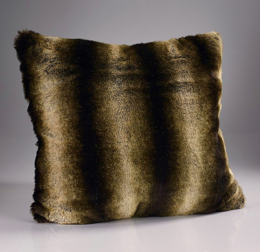 The Home Furnishings Company Dark Brown Alaska Luxury  Faux Fur Cushion 45x45cms with Feather Pad