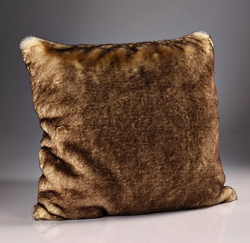 The Home Furnishings Company Brown Snow Fox Luxury Faux Fur Cushion 45x45 cms