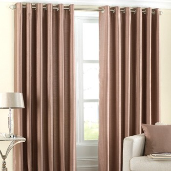 The Home Furnishings Company Fiji Faux Silk Latte Curtains/Cushion