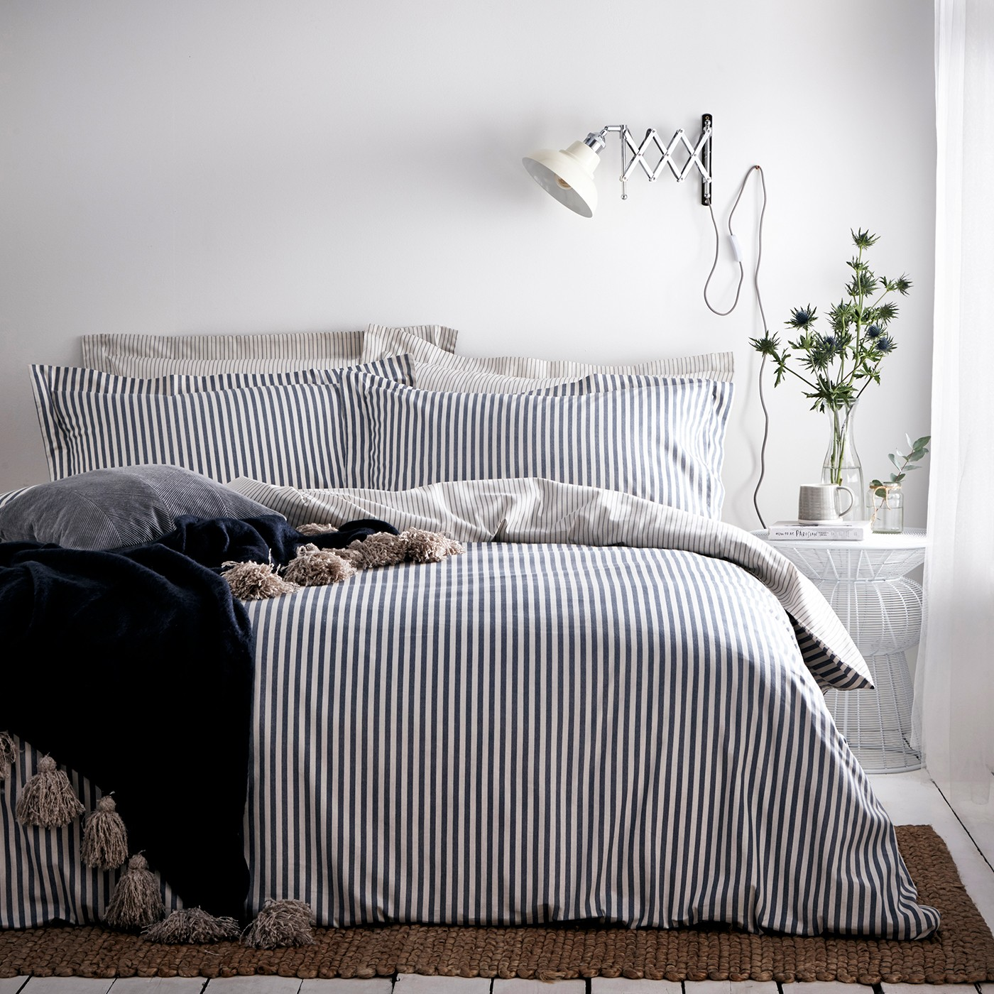 The Home Furnishings Company Cotton Navy/ Grey Duvet Cover and Matching Pillow Cases