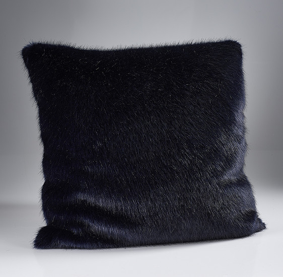 The Home Furnishings Company London Navy Blue Luxury Faux Fur Cushion 58x58cms