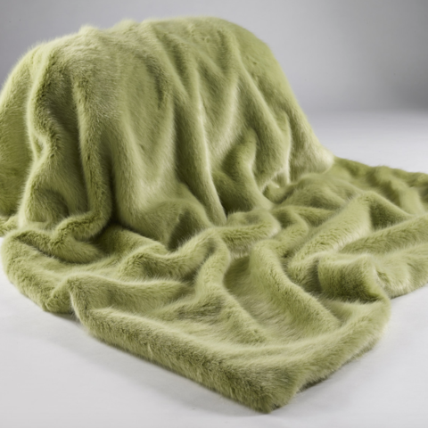 The Home Furnishings Company Luxury WIillow Green Faux Fur Throw size 140xx180 cms