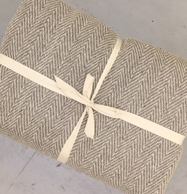 The Home Furnishings Company 100% Cotton Natural and Beige Herringbone Throw 225x250ms