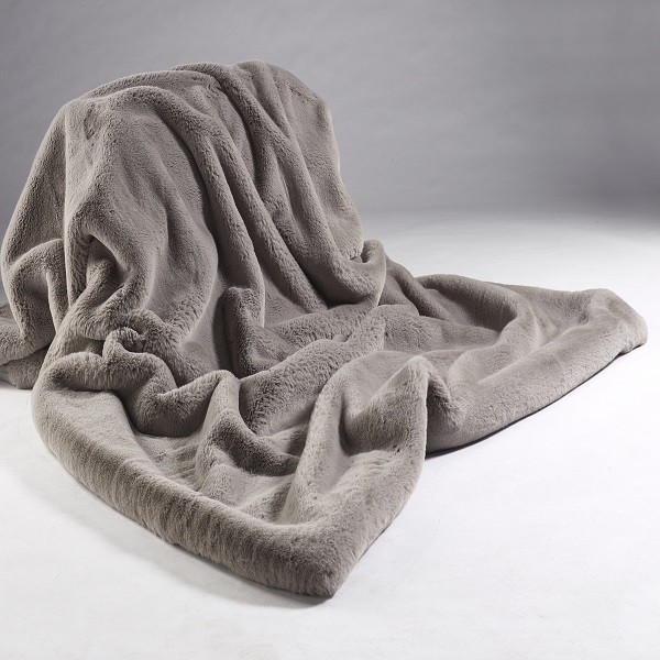 The Home Furnishings Company Soft Grey Luxury Grey Faux Fur Throw 140x240cms