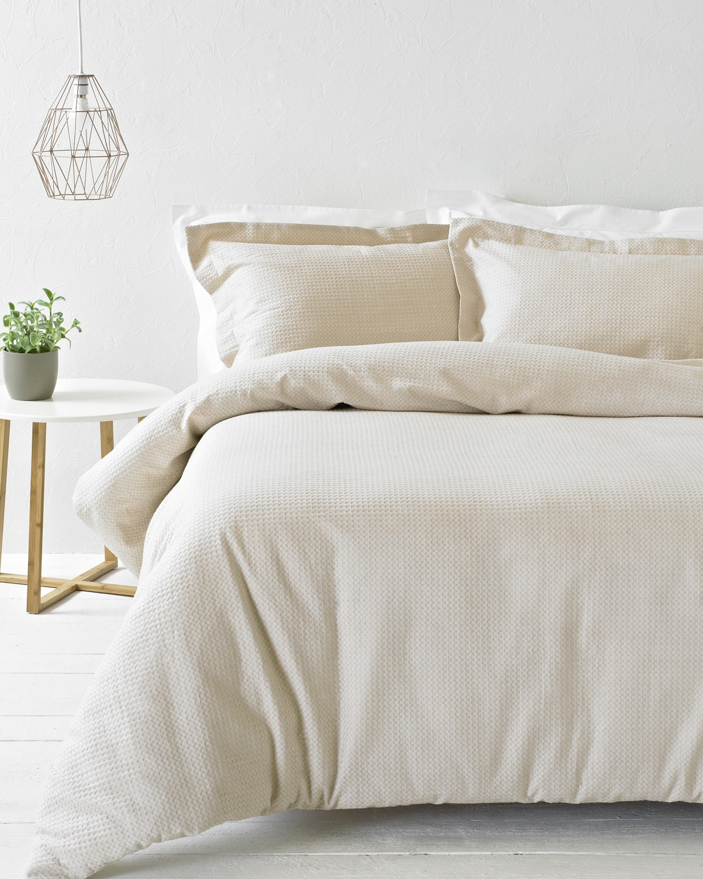 The Home Furnishings Company 100% Cotton Waffle Blush Duvet Set