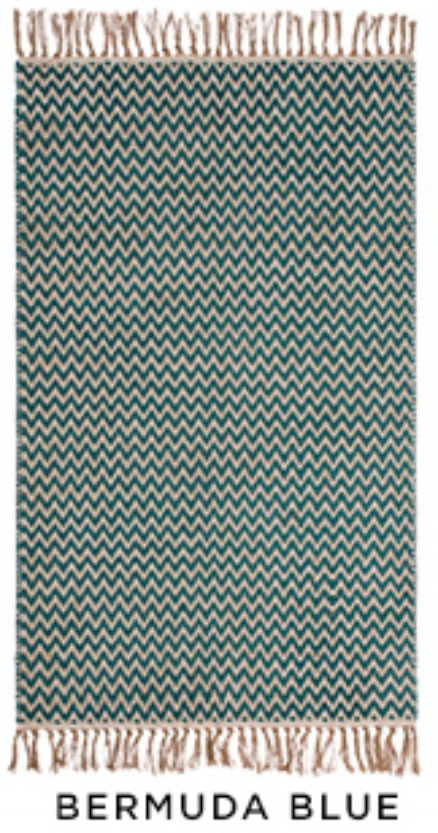 The Home Furnishings Company Old Gold Zigzag Weave Cotton/Jute Handloom Rug