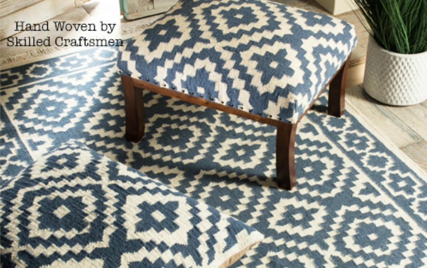 The Home Furnishings Company Indigo and Cream Luxury Handloom Samarkand Kilim and Mango Wood Footstool
