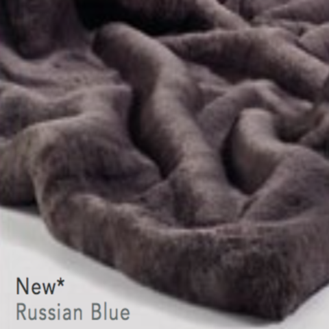 The Home Furnishings Company Russian Blue Grey Luxury Faux Fur Throw and Cushons