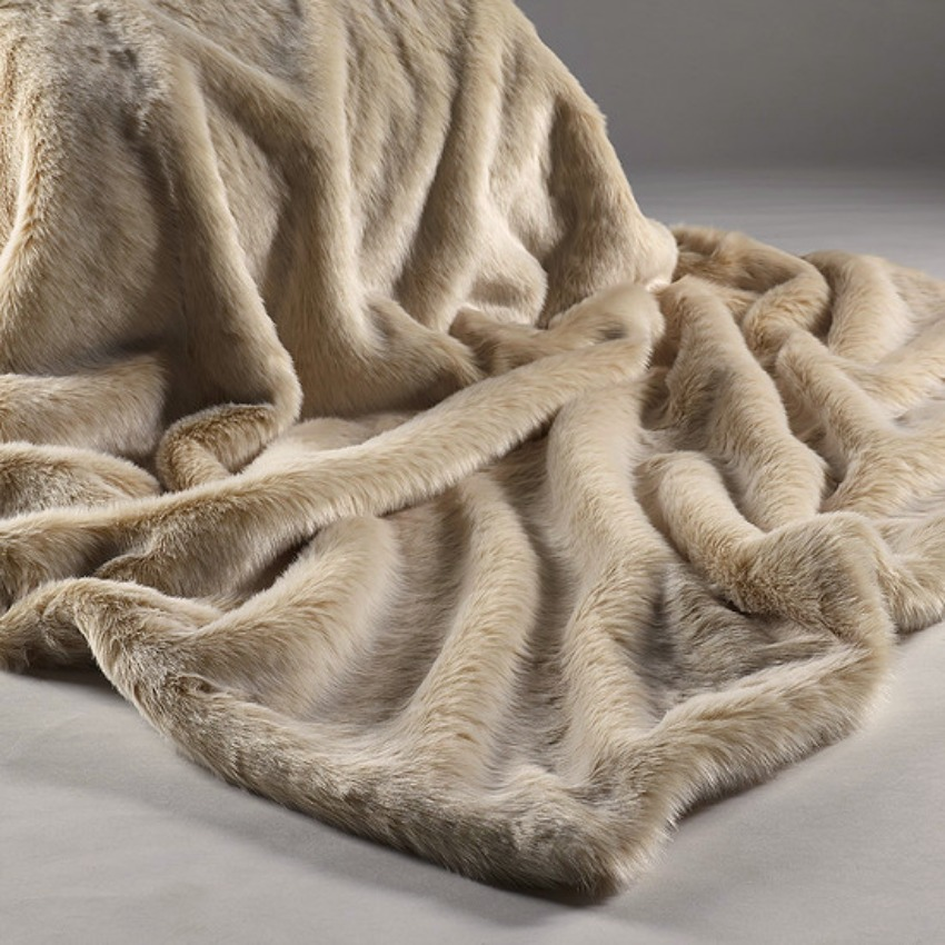 The Home Furnishings Company Beige Frost Luxury Faux Fur Throw and Cushions