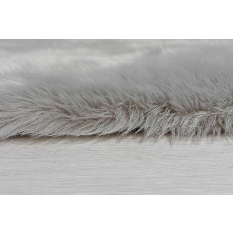 The Home Furnishings Company Grey Faux Fur Large Rectaungular Rug