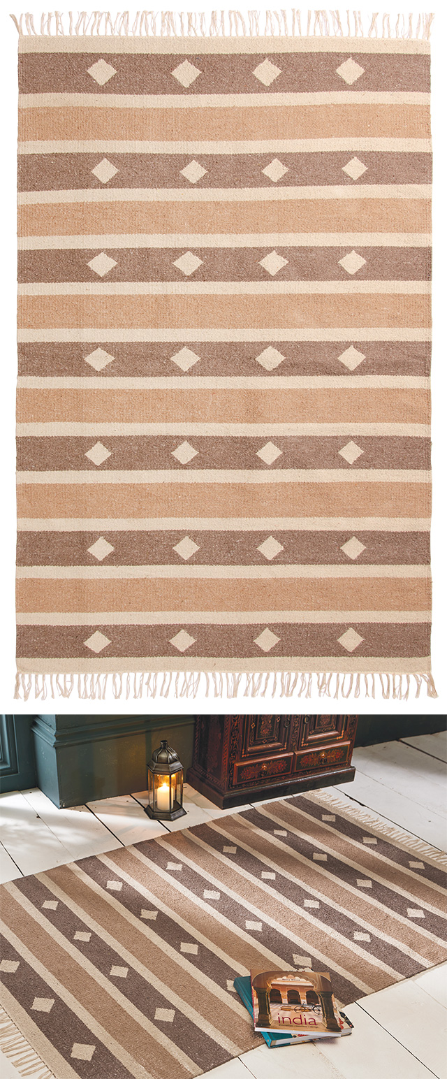 The Home Furnishings Company Beige and Cream Shades Recycled Yarn Rug