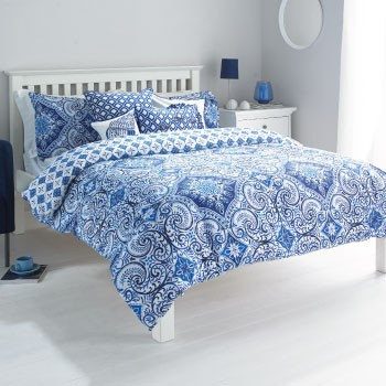 The Home Furnishings Company Vintage Indigo Blue Super Kingr Size Duvet Cover and 2 matching pillow case