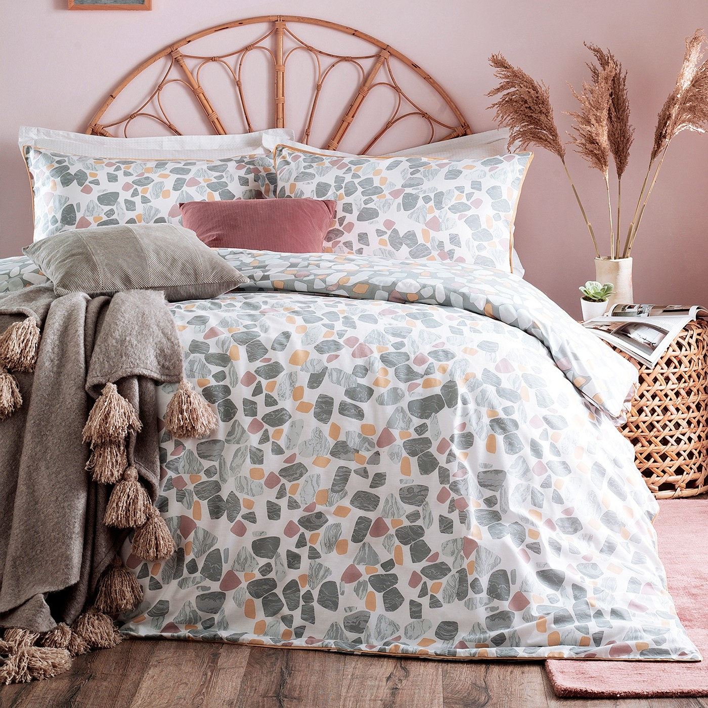 The Home Furnishings Company Terrazzo Blush/Ochre Duvet Cover and Matching Pillow Cases