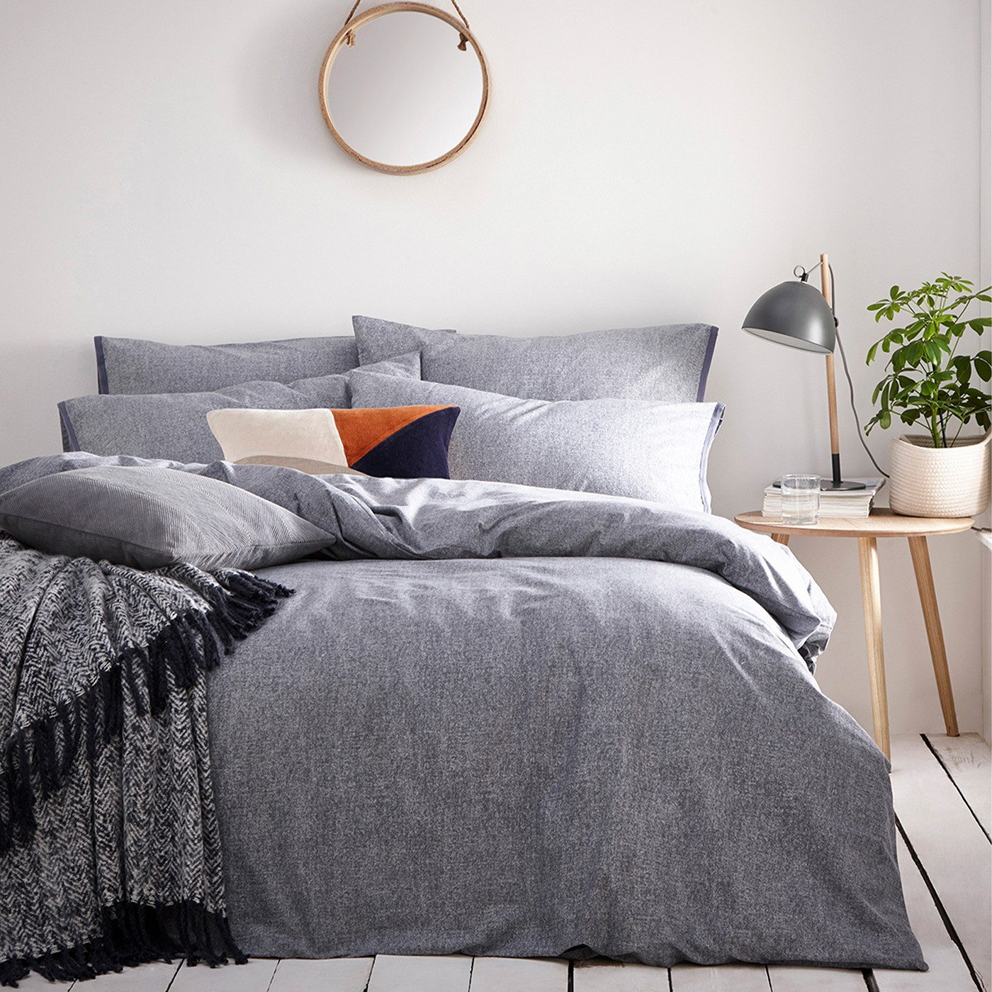 The Home Furnishings Company Claybourne Denim Duvet Cover and Matching Pillow Cases