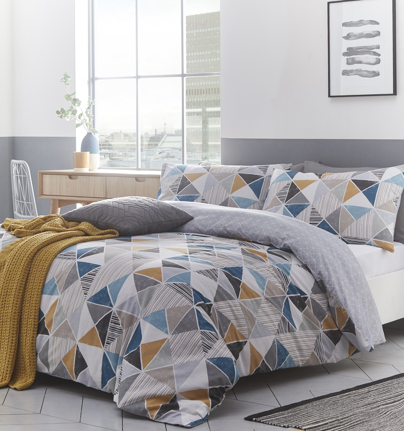 The Home Furnishings Company Harlequin Double Size Duvet Cover and Matching Pillow Cases