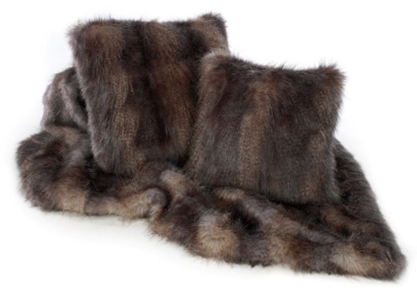 The Home Furnishings Company Blue Wolf  Luxury Faux Fur Throw 140x240 cms