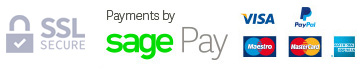 SagePay Logo and Accepted Credit and Debit Cards